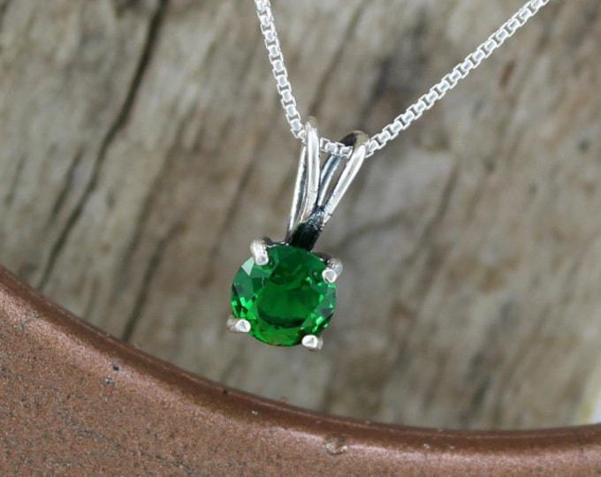Green Topaz Pendant -Silver Pendant -Green Topaz Necklace -Pendant Necklace