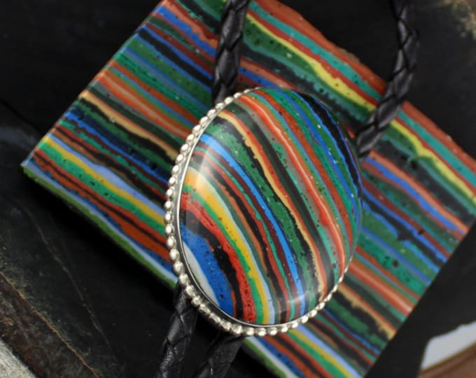 Bolo Tie - Western Bolo Tie - Rainbow Bolo Tie -Statement Bolo Tie - Cowboy Bolo Tie -  Silver Bolo Tie - Western Tie - Bolo tie Necklace