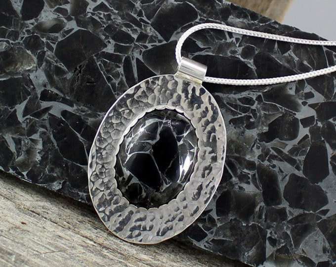 Black Obsidian and Zinc Pendant - Sterling Silver Pendant Necklace - Obsidian & Zinc Necklace