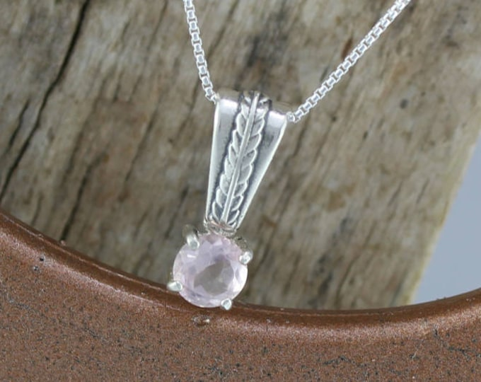 Sterling Silver Pendant/Necklace-Pink Rose Quartz Pendant/Necklace - Sterling Silver Setting with a 6mm Natural Pink Rose Quartz Stone