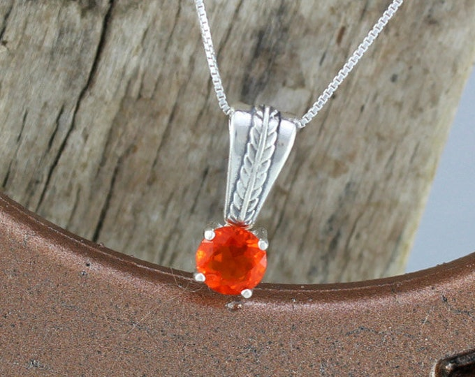 Mexican Fire Opal Pendant/Necklace-Sterling Silver Pendant/Necklace - Sterling Silver Setting with a 6mm Natural Mexican Fire Opal Stone