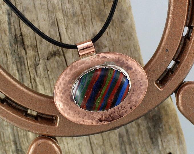 Copper Pendant - Rainbow Necklace -  Statement Necklace -  Copper Necklace - Handmade Pendant - Rainbow Pendant - Pendant Necklace -