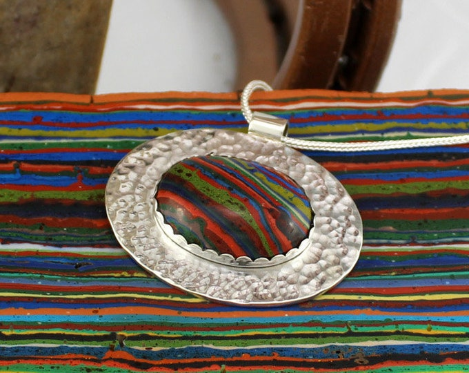 Silver Necklace - Rainbow Pendant - Pendant Necklace -  Statement Necklace - Rainbow Necklace - Wedding Necklace - Handmade Pendant