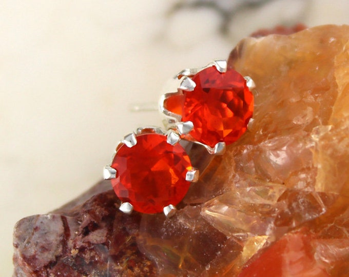 Fire Opal Earrings - Fire Opal Studs - Statement Earrings - Orange Stud Earrings - Opal Stud Earrings