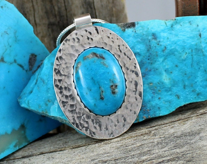 Blue Kingman Turquoise Pendant - Sterling Silver Pendant Necklace - Blue Kingman Turquoise Necklace