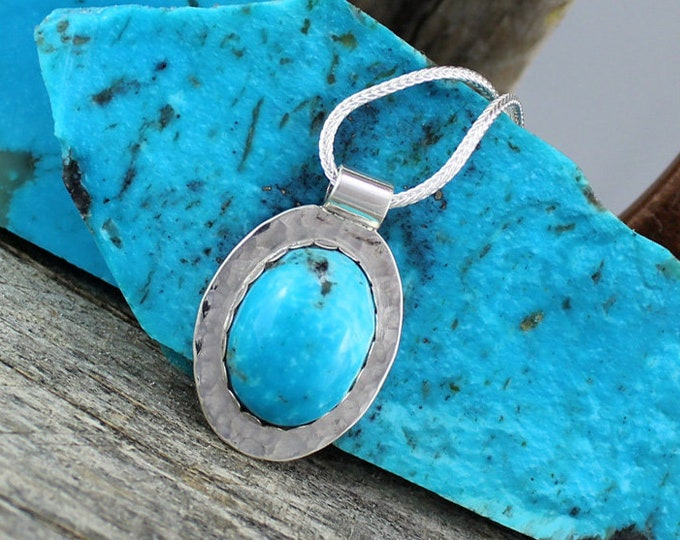 Silver Pendant - Turquoise Pendant -Turquoise Necklace -Statement Necklace - Pendant Necklace - Wedding Necklace - Handmade Pendant