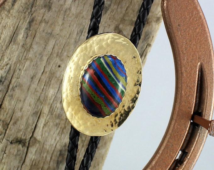 Bolo Tie - Western Bolo Tie - Rainbow Bolo Tie - Cowboy Bolo Tie - Brass Bolo Tie - Statement Bolo Tie - Bolo Tie For Wedding - Western Tie