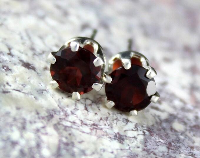 Silver Earrings-Red Garnet Studs-Red Garnet Earrings-Stud Earrings - Statement Earrings