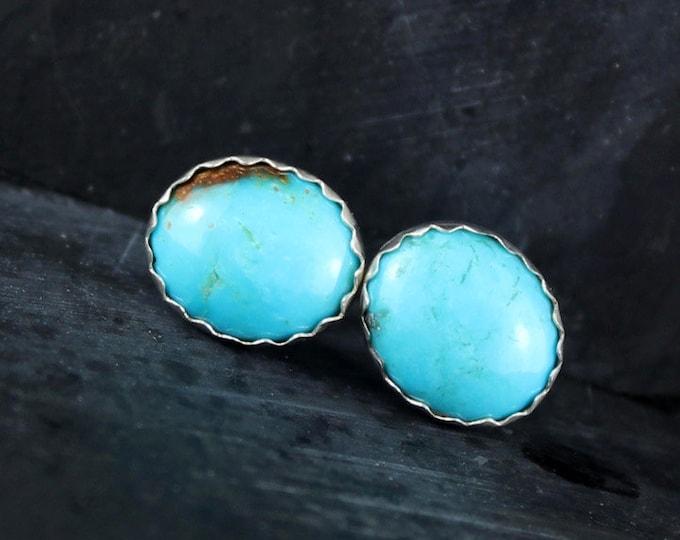 Silver Earrings - Turquoise Earrings -Boho Earrings -Stud Earrings - Statement Earrings - Wedding Earrings - Blue Stone Earrings- Earrings