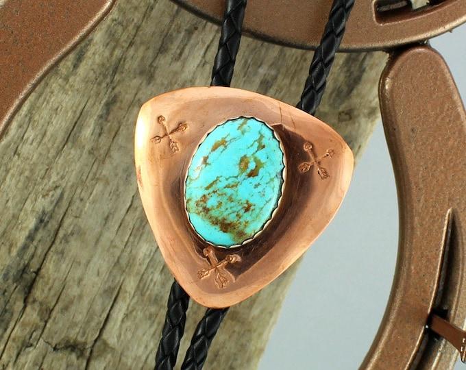 Bolo Tie - Western Bolo Tie - Turquoise Bolo Tie - Cowboy Bolo Tie - Statement Bolo Tie - Copper Bolo Tie - Western Tie - Bolo Tie Necklace