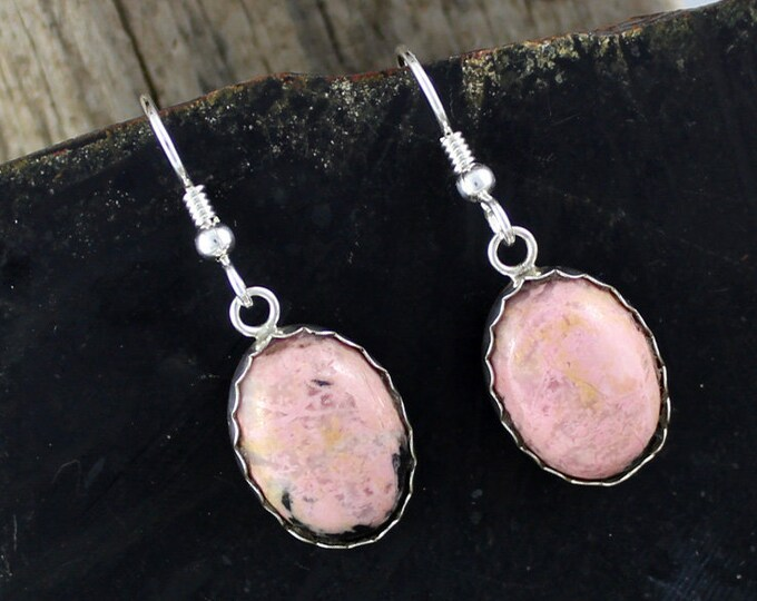 Rhodonite Earrings -Silver Earrings -Dangle Earrings-Drop Earrings - Statement Earrings -Pink Stone Earrings -Pink Earrings -Rhodonite Drops