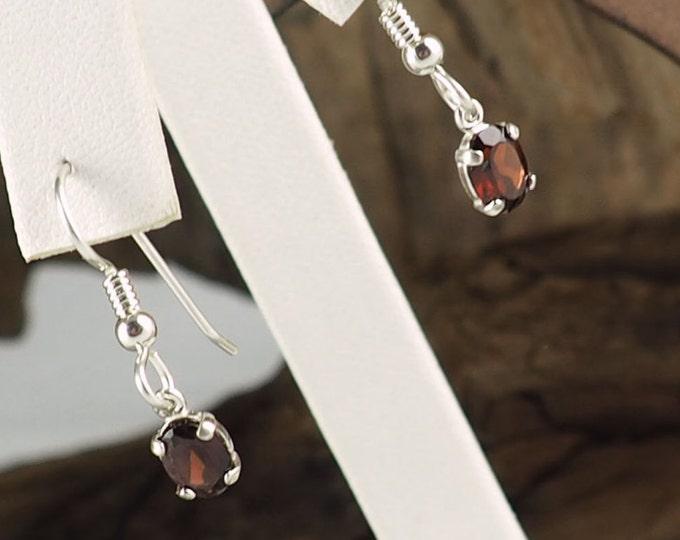 Silver Earrings -Dangle Earrings -Garnet Earrings -Drop Earrings -Drops -Boho Earrings - Gemstone Earrings -Statement Earrings -Red Gemstone