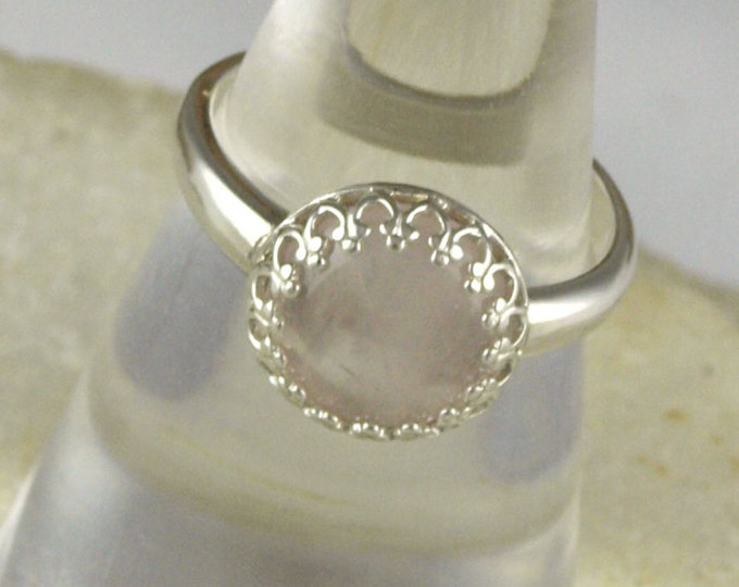 Sterling Silver Ring - Natural Rose Quartz Ring - Statement Ring - Cocktail Ring - with a 10mm Natural Pink Rose Quartz Stone