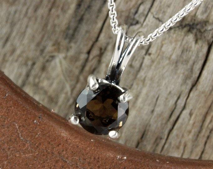 Sterling Silver Pendant/Necklace - Smokey Quartz Pendant/Necklace - Sterling Silver Setting with an 8mm Natural Smokey Quartz Stone