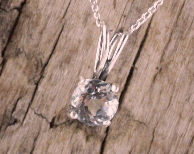 Sterling Silver Pendant/Necklace - White Topaz Pendant/Necklace - Sterling Silver Setting with a 6mm Brilliant Natural White Topaz Stone