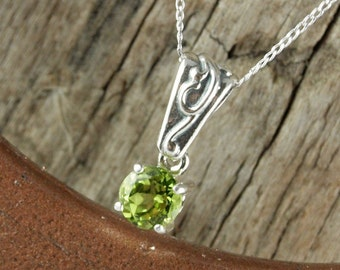 Green Peridot Pendant/Necklace - Sterling Silver Pendant/Necklace - Sterling Silver Setting with a 6mm Natural Peridot Stone