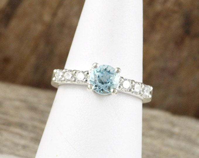 Sterling Silver Ring - Natural Aquamarine Ring - Friendship Ring - Statement Ring - Promise Ring with 6mm Aquamarine with CZ Accents