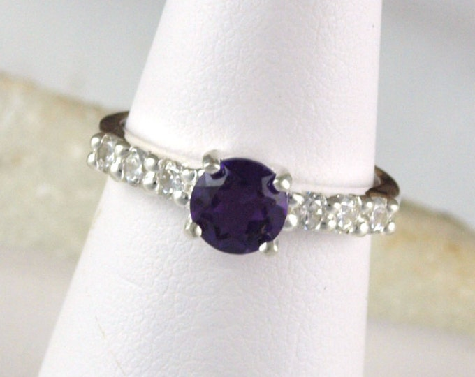 Sterling Silver Ring -Natural Purple Amethyst Ring -Statement Ring - Everyday Ring with a 6mm Natural Purple Amethyst Stone with CZ Accents