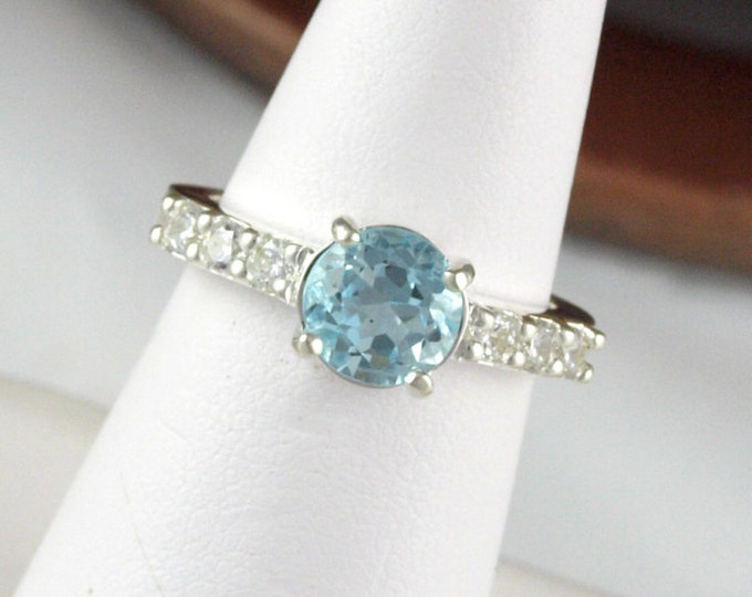 Sterling Silver Ring - Large Sky Blue Topaz Ring - Statement Ring - Friendship Ring -  with a 7mm Natural Sky Blue Topaz Gemstone CZ Accents