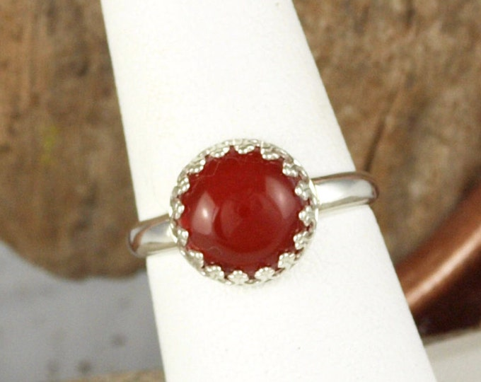 Sterling Silver Ring - Natural Red Carnelian Ring - Statement Ring - Cocktail Ring - with a 10mm Natural Red Carnelian Stone