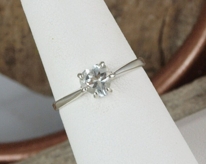 Sterling Silver Ring - Natural White Topaz Ring - Friendship Ring - Promise Ring - Everyday Ring - Heart Ring with a 6mm White Topaz Heart