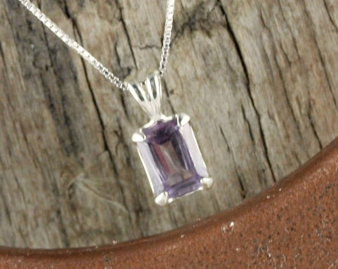 Sterling Silver Pendant/Necklace Natural Amethyst Pendant/Necklace - Sterling Silver Setting with a 6mm x 8mm Purple Brazilian Amethyst