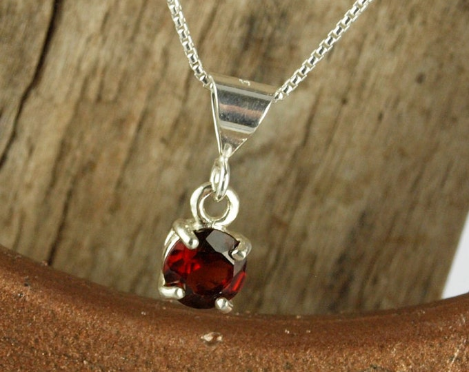 Sterling Silver Pendant/Necklace -Dark Red Garnet Pendant/Necklace - Sterling Silver Setting with a 6mm Natural Red Garnet Stone