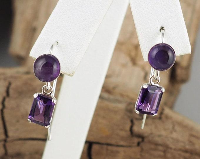 Silver Earrings -Purple Amethyst -Amethyst Earrings -Boho Earrings -Dangle Earrings -Gemstone Earrings -Purple Gemstone -Statement Earrings
