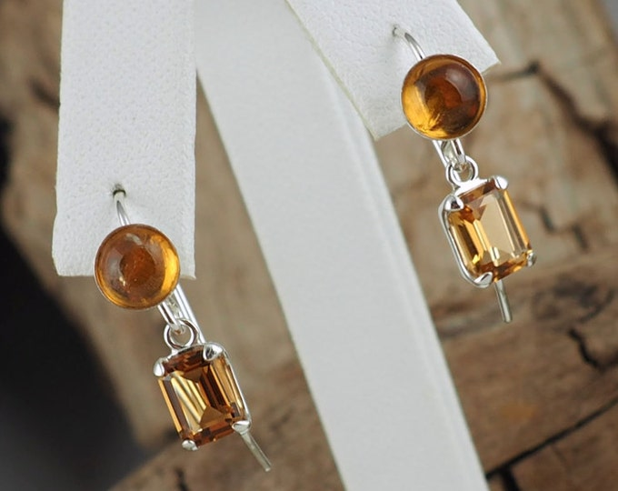 Silver Earrings -Madeira Citrine -Citrine Earring -Dangle Earrings -Drop Earrings -Boho Earrings -Boho-Statement Earrings-Gemstone Earrings