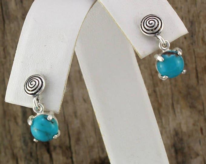 Silver Earrings - Blue Turquoise - Dangle Earrings - Boho Earrings - Statement Earrings - Blue Stone Earrings -Stone Earrings -Drop Earrings