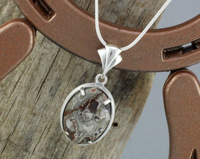 Sterling Silver -Natural Mexican Crazy Lace Agate Pendant/Necklace - 25mm x 18mm Natural Mexican Crazy Lace Agate in Sterling Silver