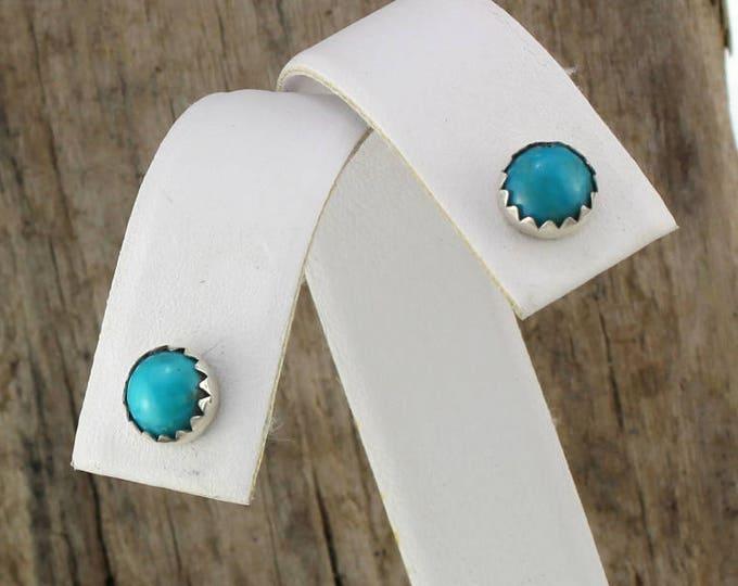 Silver Earrings -Blue Turquoise Earrings -Handmade Earrings -Studs - Statement Earrings -  6mm Blue Kingman Turquoise in Sterling Silver