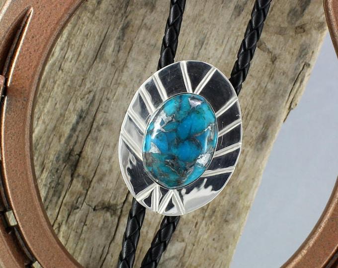 Bolo Tie - Western Bolo Tie - Turquoise Bolo Tie - Cowboy Bolo Tie - Statement Bolo Tie - Silver Bolo Tie - Western Tie - Bolo Tie Necklace