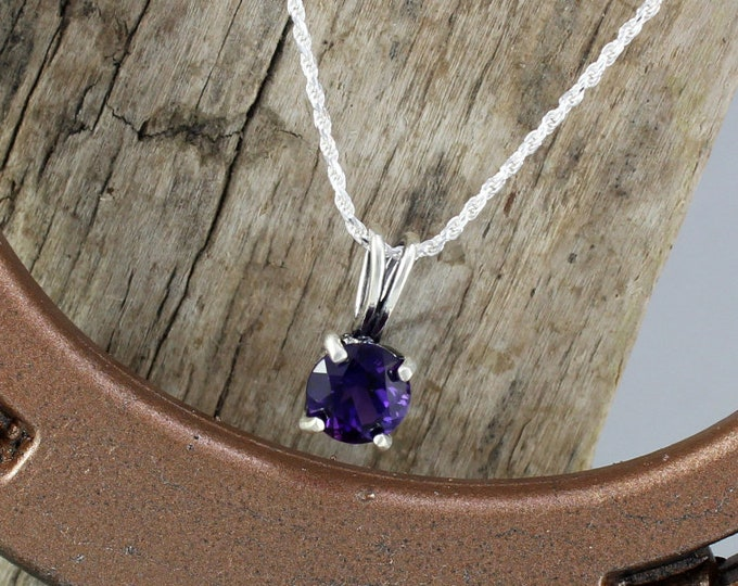 Sterling Silver Pendant/Necklace -Purple Amethyst Pendant/Necklace - Sterling Silver Setting with an 8mm Natural African Amethyst Stone
