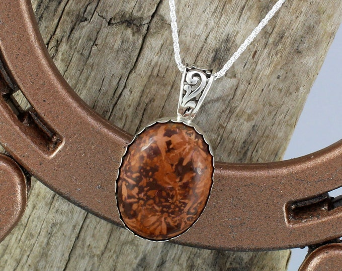 Sterling Silver Pendant/Necklace - Spider Jasper Pendant/Necklace -  25mm x 18mm Natural Spider Jasper Stone in a Sterling Silver Setting