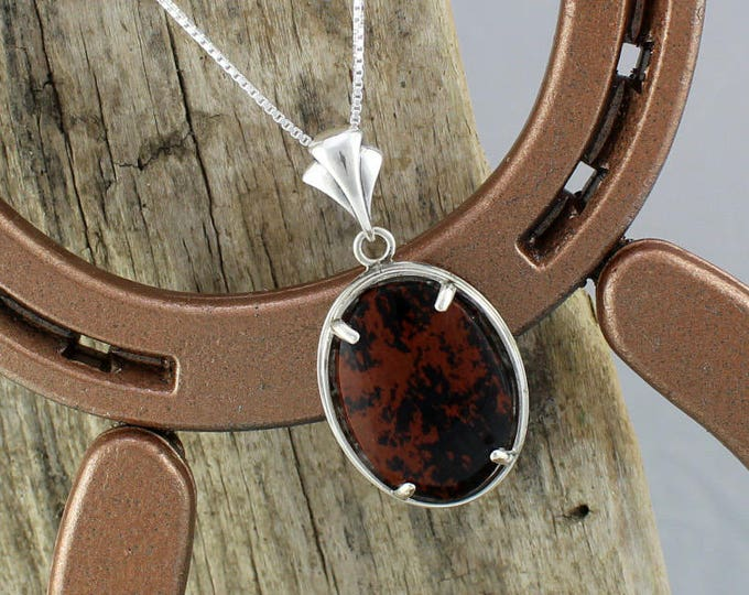 Sterling Silver Pendant/Necklace-Mahogany Obsidian Pendant/Necklace - A 30mm x 22mm Mahogany Obsidian Stone in a Sterling Silver Setting
