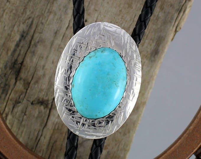 Bolo Tie - Western Bolo Tie - Turquoise Bolo Tie - Cowboy Bolo Tie - Silver Bolo Tie - Statement Bolo Tie - Western Tie - Bolo Tie Necklace