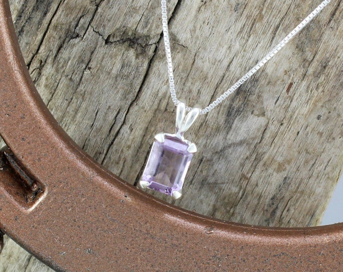 Purple Amethyst Pendant/Necklace, Sterling Silver Pendant/Necklace  - Sterling Silver Setting with an 8mm x 6mm Brazilian Amethyst Stone