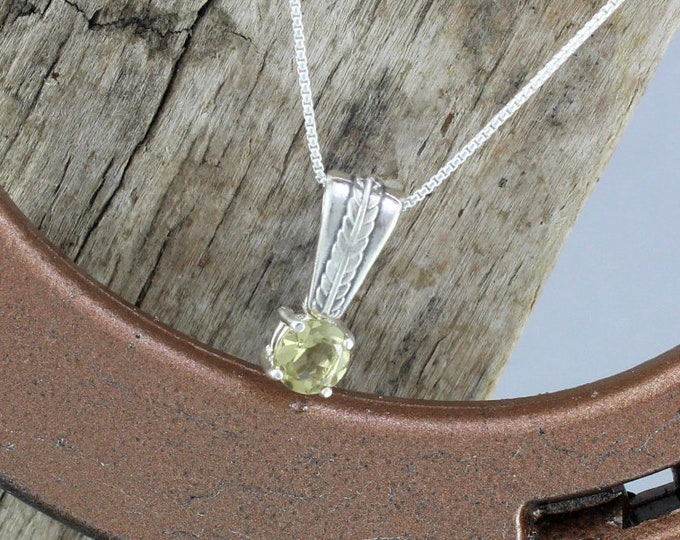 Lemon Quartz Pendant/Necklace - Sterling Silver Pedant/Necklace - 6mm Natural Lemon Quartz Solitaire in a Sterling Silver Setting