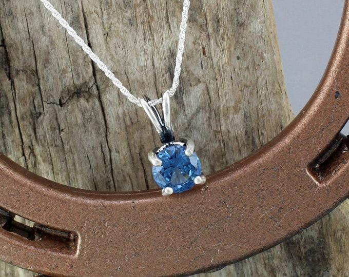 Sterling Silver Pendant/Necklace-London Blue Topaz Pendant/Necklace - Sterling Silver Setting with a 9mm London Blue Topaz Stone