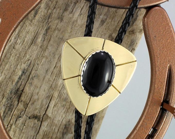 Bolo Tie - Western Bolo Tie -Black Onyx Bolo Tie -Cowboy Bolo Tie - Statement Bolo Tie - Brass Bolo Tie - Western Tie - Bolo Tie Necklace