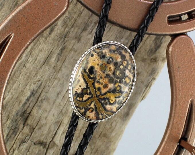 Bolo Tie - Western Bolo Tie - Jasper Bolo Tie - Cowboy Bolo Tie - Handmade Bolo Tie - Silver Bolo Tie - Statement Bolo Tie - Lariat Tie