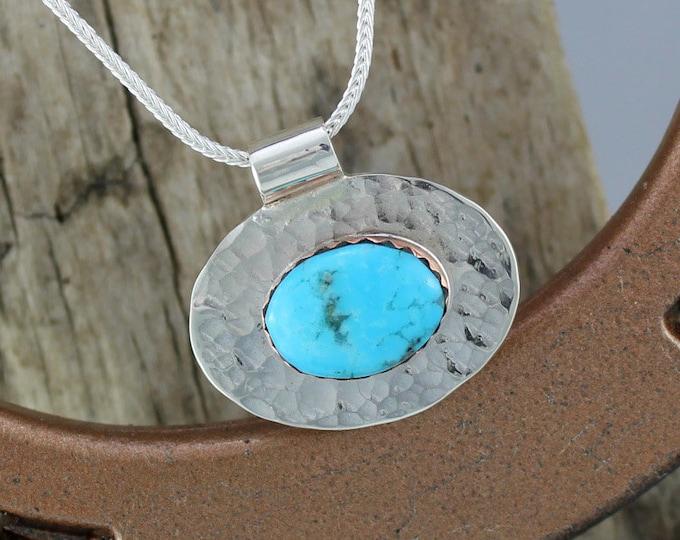 Silver Pendant - Turquoise Pendant - Statement Pendant - Turquoise Necklace - Handmade Pendant - Silver Necklace - Pendant Necklace