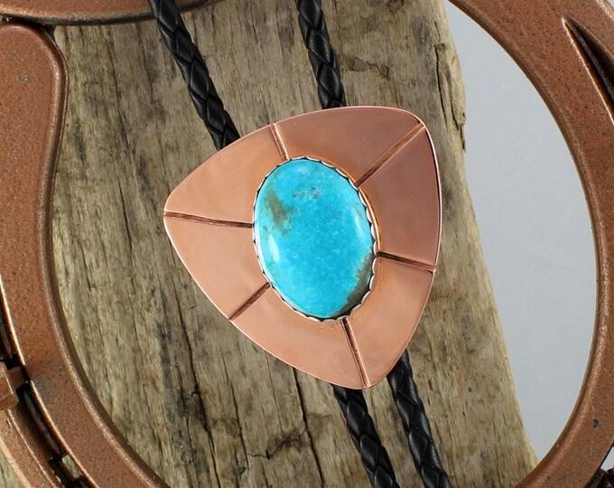 Bolo Tie - Western Bolo Tie - Turquoise Bolo Tie - Cowboy Bolo Tie - Copper Bolo Tie - Statement Bolo Tie - Western Tie - Bolo Tie Necklace