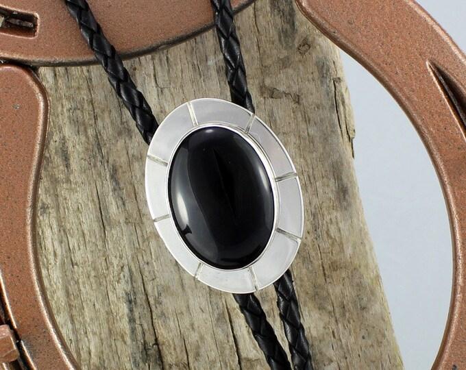 Bolo Tie - Western Bolo Tie -Black Onyx Bolo Tie -Cowboy Bolo Tie - Statement Bolo Tie - Silver Bolo Tie - Western Tie - Bolo Tie Necklace