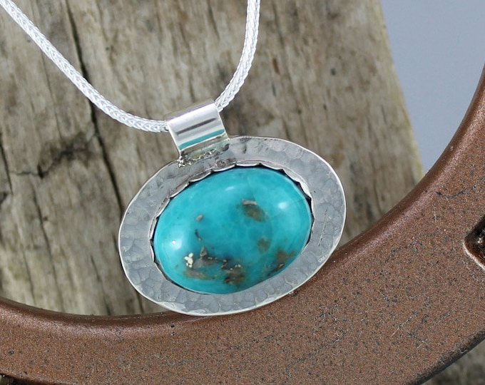 Silver Pendant - Turquoise Pendant - Turquoise Necklace -Statement Necklace - Pendant Necklace - Wedding Necklace - Handmade Pendant