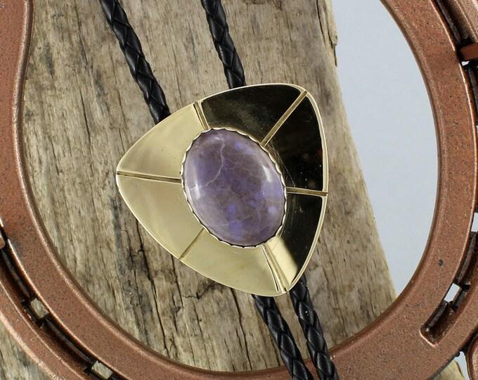 Bolo Tie - Western Bolo Tie -Purple Jade Bolo Tie -Cowboy Bolo Tie - Statement Bolo Tie - Brass Bolo Tie - Western Tie - Bolo Tie Necklace