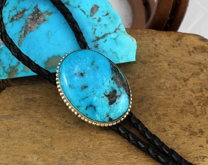 Western Bolo Tie -Turquoise Bolo Tie -Cowboy Bolo Tie -Silver Bolo Tie - Bolo Ties