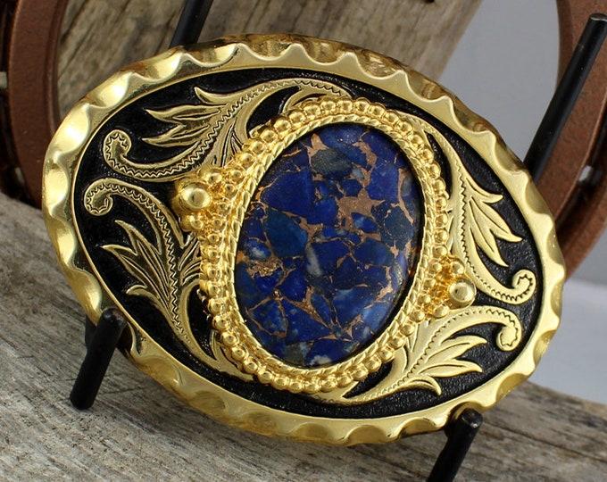 Lapis Lazuli Buckle - Western Belt Buckle - Cowboy Belt Buckle -   Boho Belt Buckle