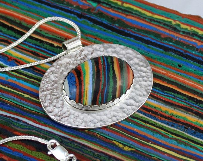 Silver Necklace - Rainbow Pendant - Pendant Necklace -  Statement Necklace - Rainbow Necklace - Wedding Necklace - Handmade Pendant